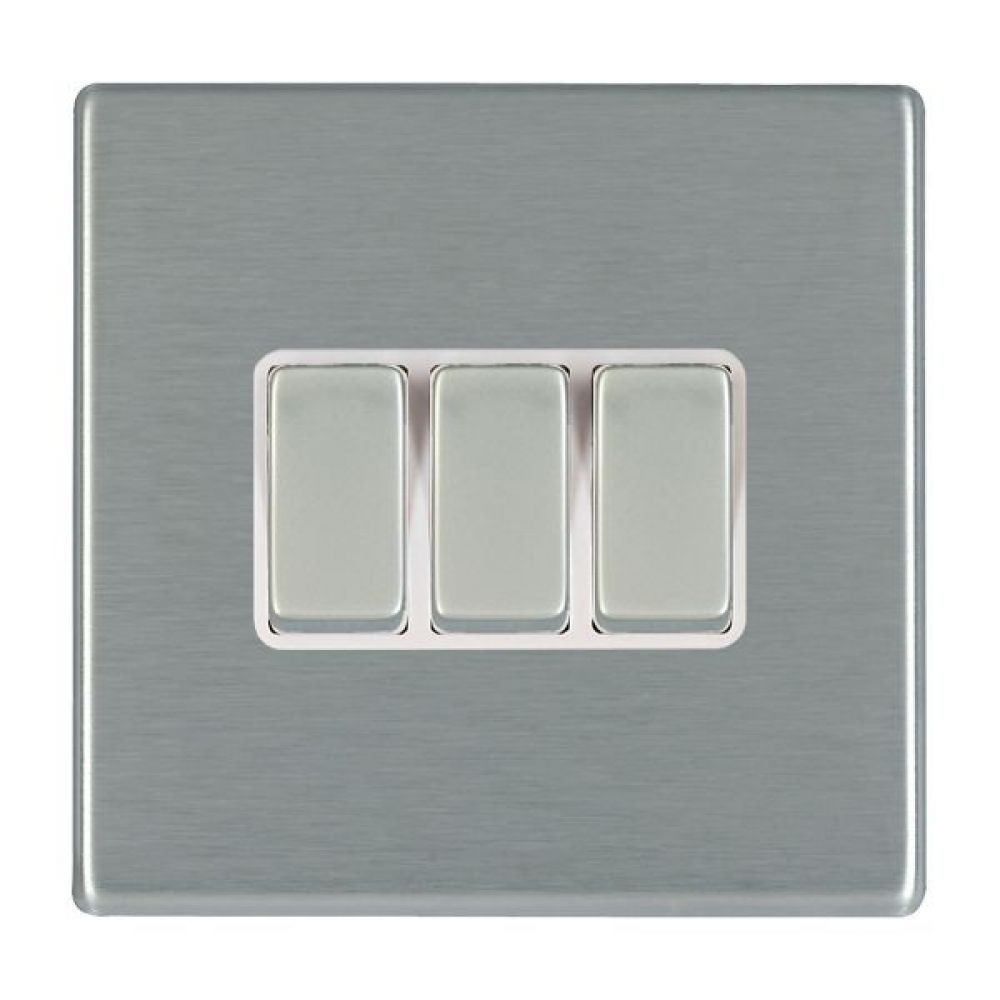 Hamilton Hartland CFX Satin Stainless 3 Gang 10AX 2W Rocker Switch with Satin Stainless Inserts and White Surroun