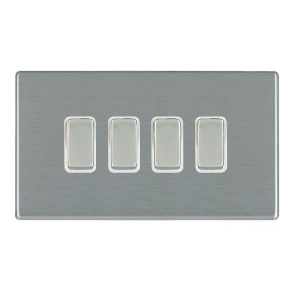 Hamilton Hartland CFX Satin Stainless 4 Gang 10AX 2W Rocker Switch with Satin Stainless Inserts and White Surroun