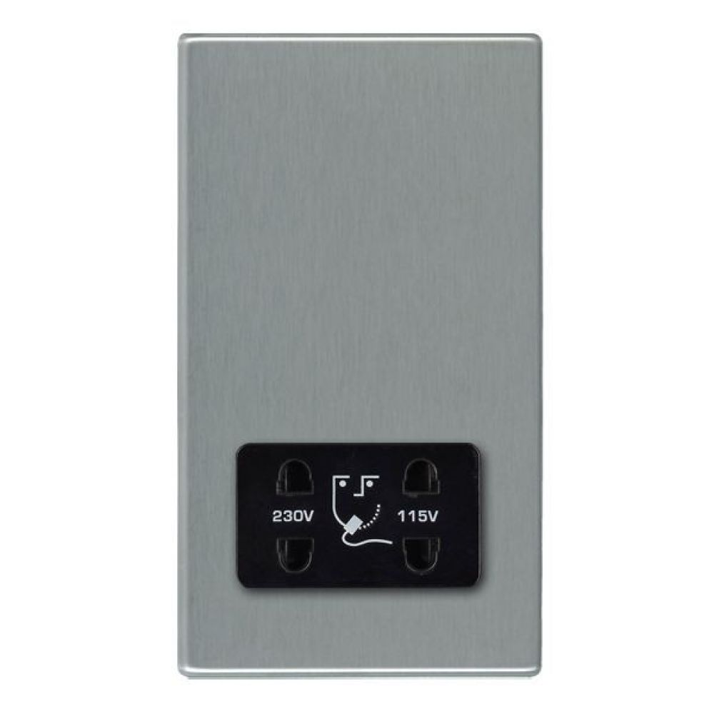 Hamilton Hartland CFX Satin Stainless Shaver Dual Voltage Unswitched Socket with Black Plastic Inserts + Black Surround