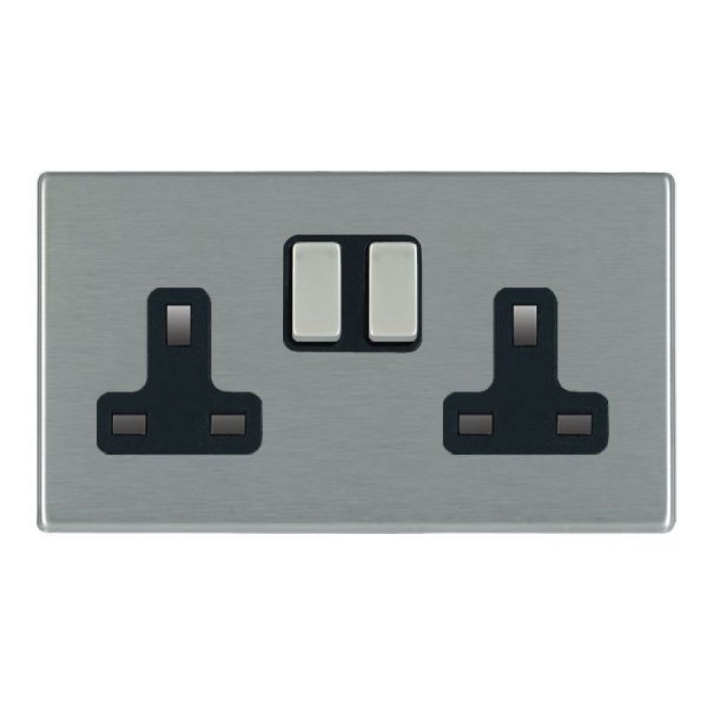 Hamilton Hartland CFX Satin Stainless 2 Gang 13A Double Pole Switched Socket with Satin Stainless Inserts + Black Surround