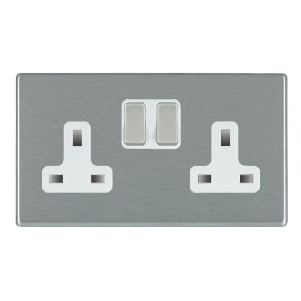 Hamilton Hartland CFX Satin Stainless 2 Gang 13A Double Pole Switched Socket with Satin Stainless Inserts + White Surround