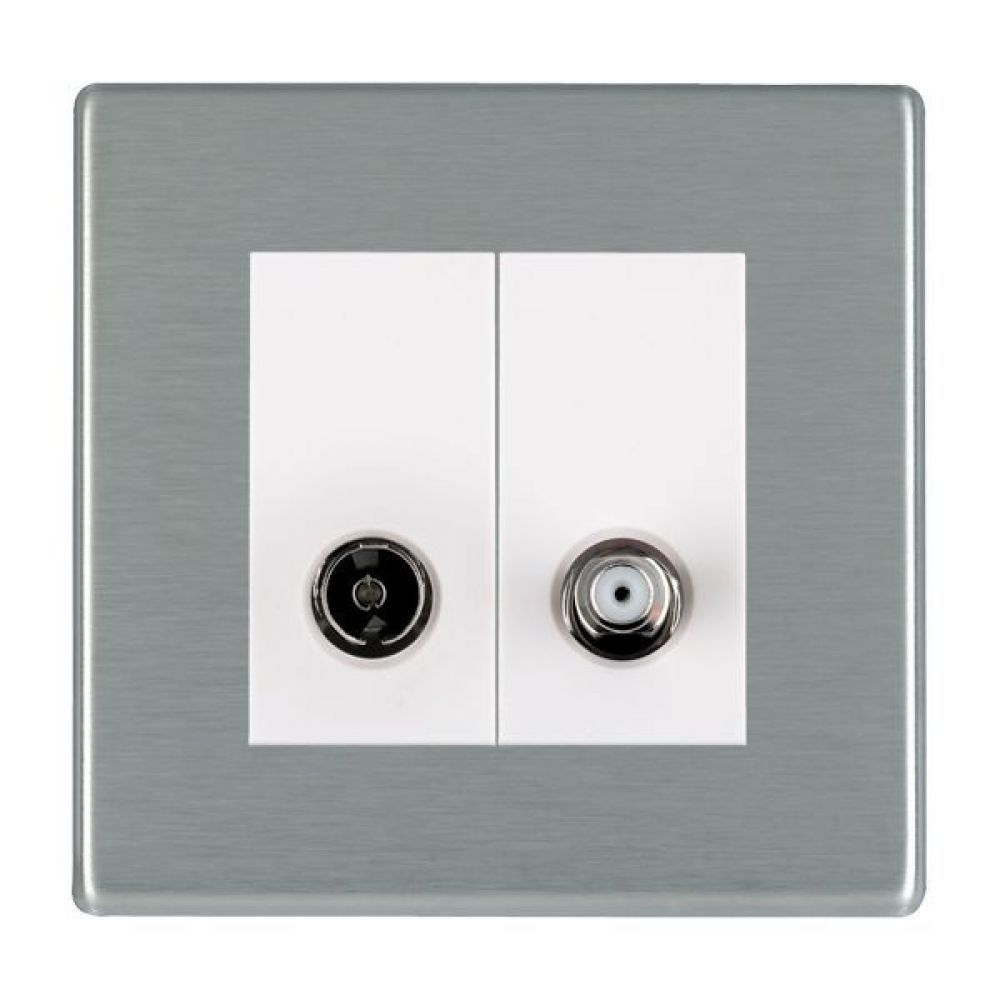 Hamilton Hartland CFX Satin Stainless 2 Gang Non Isolated TV + Satellite 2 In/2 Out Socket with White Inserts