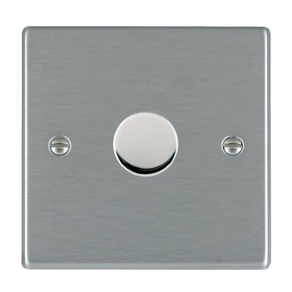 Hamilton Hartland Satin Stainless 1 Gang 400W 2 Way Leading Edge Push On/Off Resitive Dimmer
