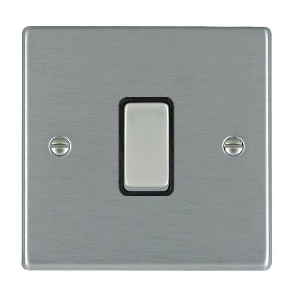 Hamilton Hartland Satin Stainless 1 Gang 10AX 2W Rocker Switch with Satin Stainless Inserts + Black Surround