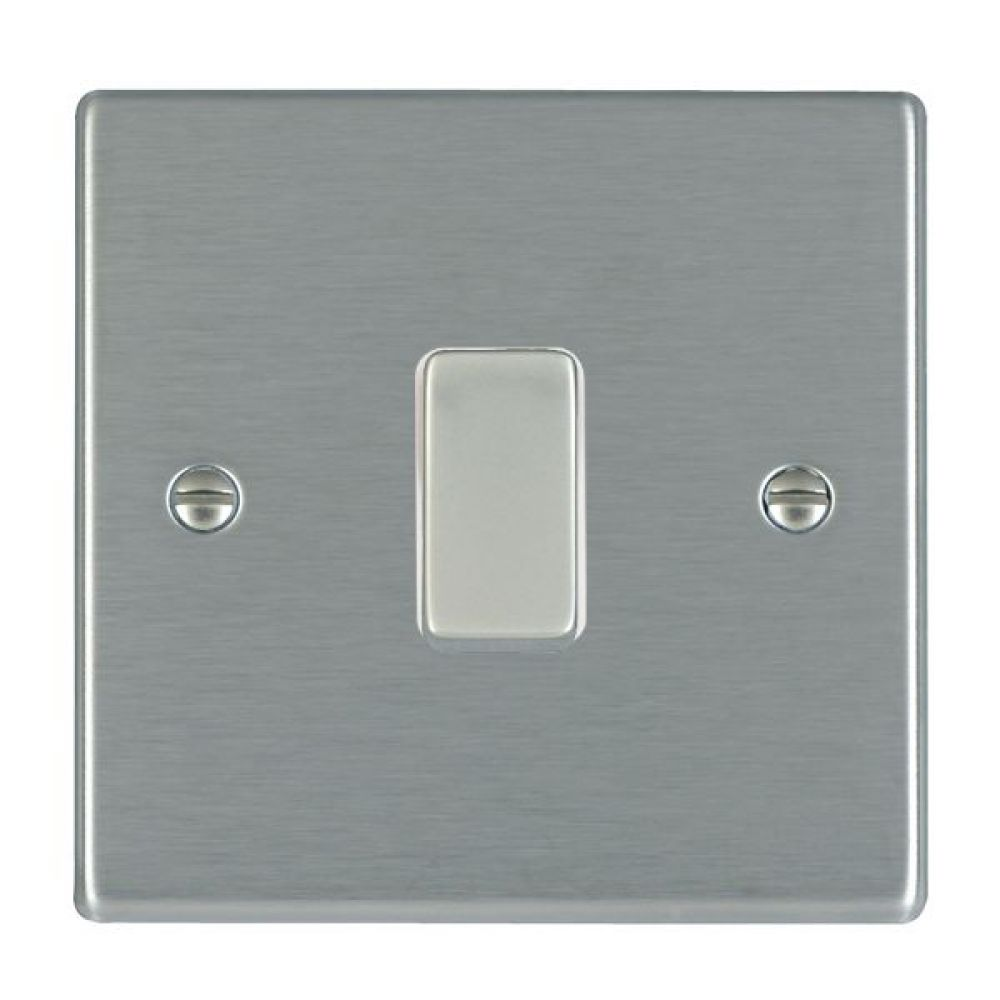Hamilton Hartland Satin Stainless 1 Gang 10AX 2W Rocker Switch with Satin Stainless Inserts and White Surround