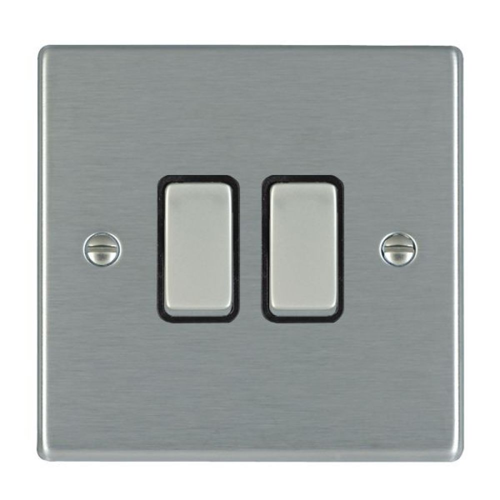 Hamilton Hartland Satin Stainless 2 Gang 10AX 2W Rocker Switch with Satin Stainless Inserts + Black Surround