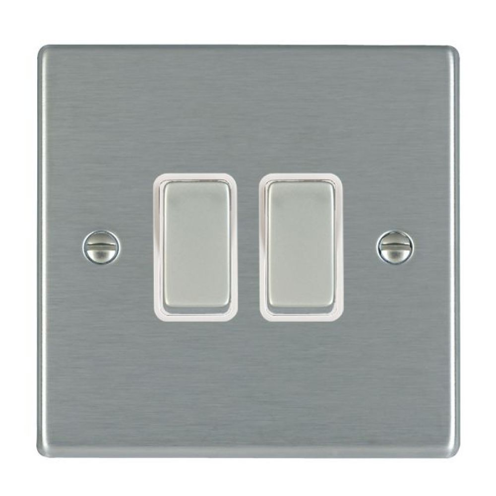 Hamilton Hartland Satin Stainless 2 Gang 10AX 2W Rocker Switch with Satin Stainless Inserts and White Surround