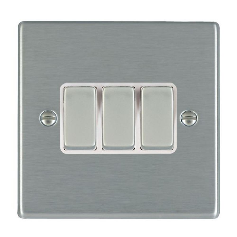Hamilton Hartland Satin Stainless 3 Gang 10AX 2W Rocker Switch with Satin Stainless Inserts + White Surround