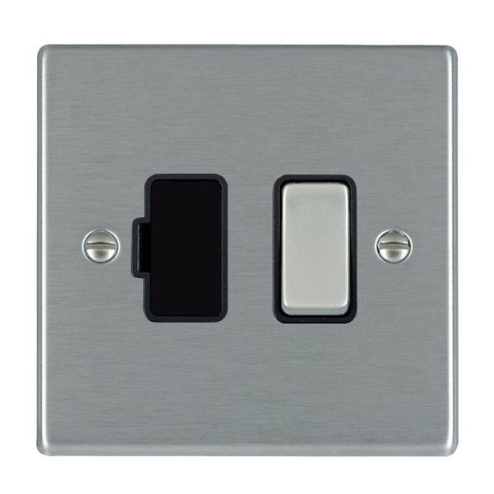 Hamilton Hartland Satin Stainless 1 Gang 13A Double Pole Fused Spur with Satin Stainless Inserts + Black Surround