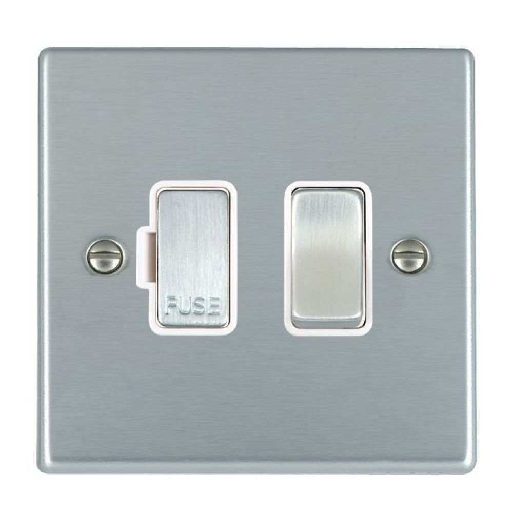 Hamilton Hartland Satin Stainless 1 Gang 13A Double Pole Fused Spur with Satin Stainless Inserts + White Surround