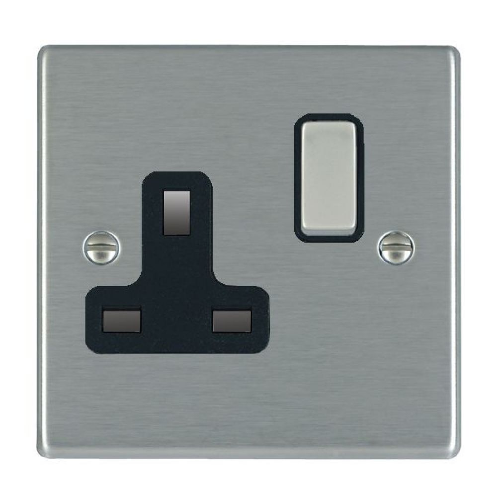 Hamilton Hartland Satin Stainless 1 Gang 13A Double Pole Switched Socket with Satin Stainless Inserts + Black Surround