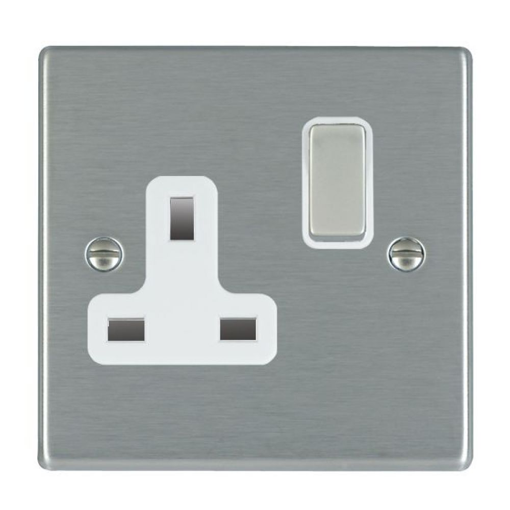Hamilton Hartland Satin Stainless 1 Gang 13A Double Pole Switched Socket with Satin Stainless Inserts + White Surround