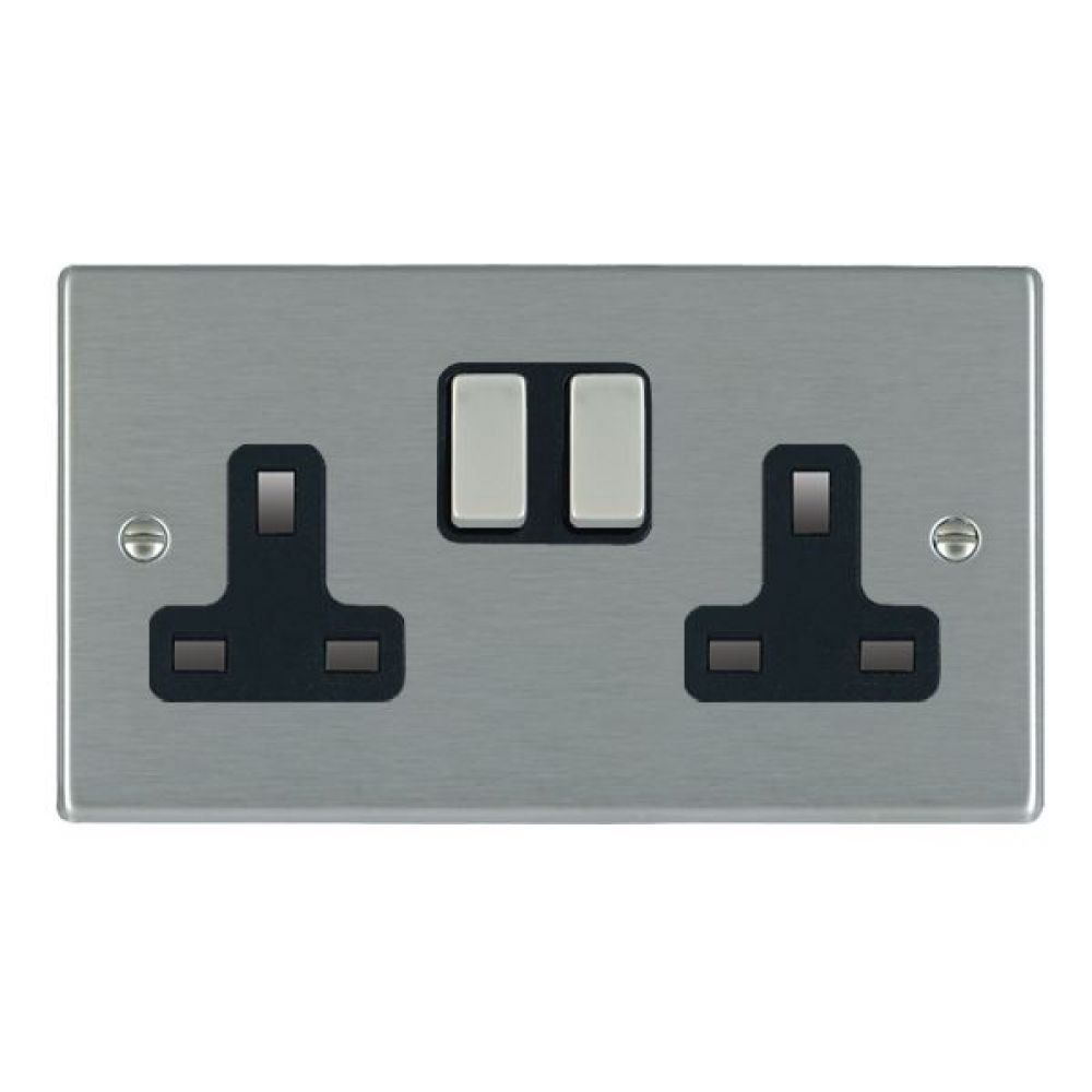 Hamilton Hartland Satin Stainless 2 Gang 13A Double Pole Switched Socket with Satin Stainless Inserts + Black Surround