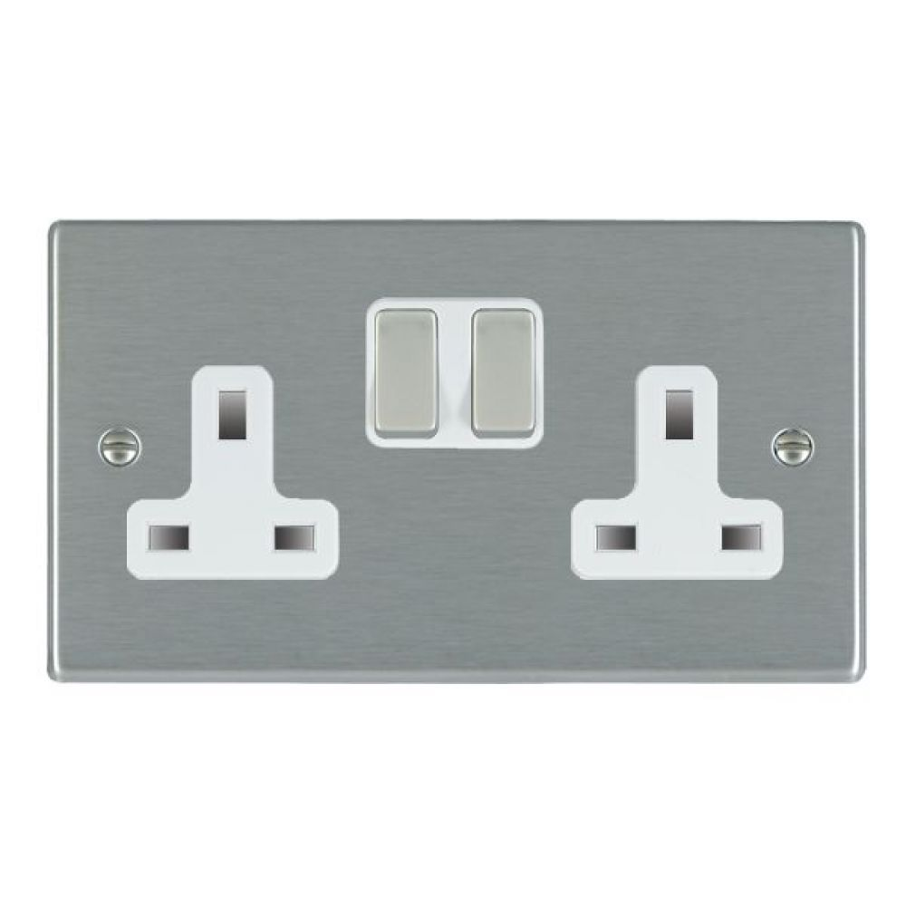 Hamilton Hartland Satin Stainless 2 Gang 13A Double Pole Switched Socket with Satin Stainless Inserts + White Surround