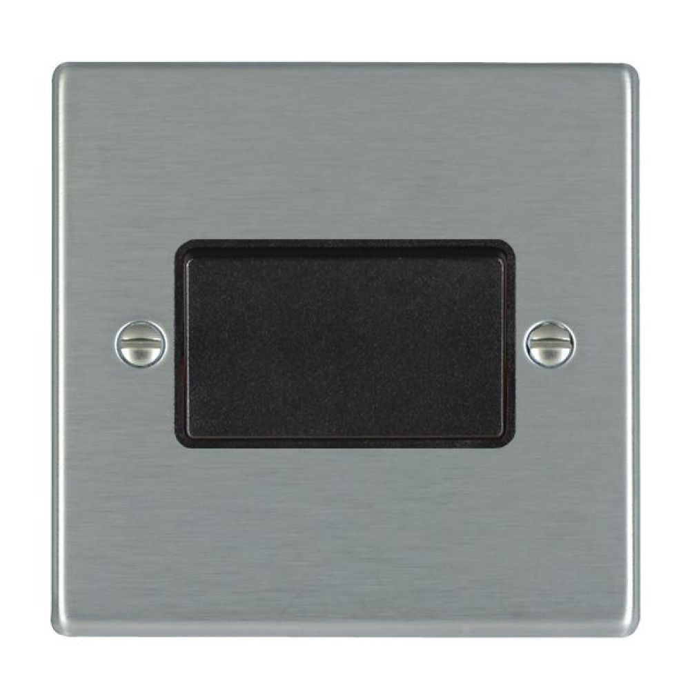Hamilton Hartland Satin Stainless 1 Gang 10A Triple Pole Rocker Switch with Black Plastic Inserts and Black Surround