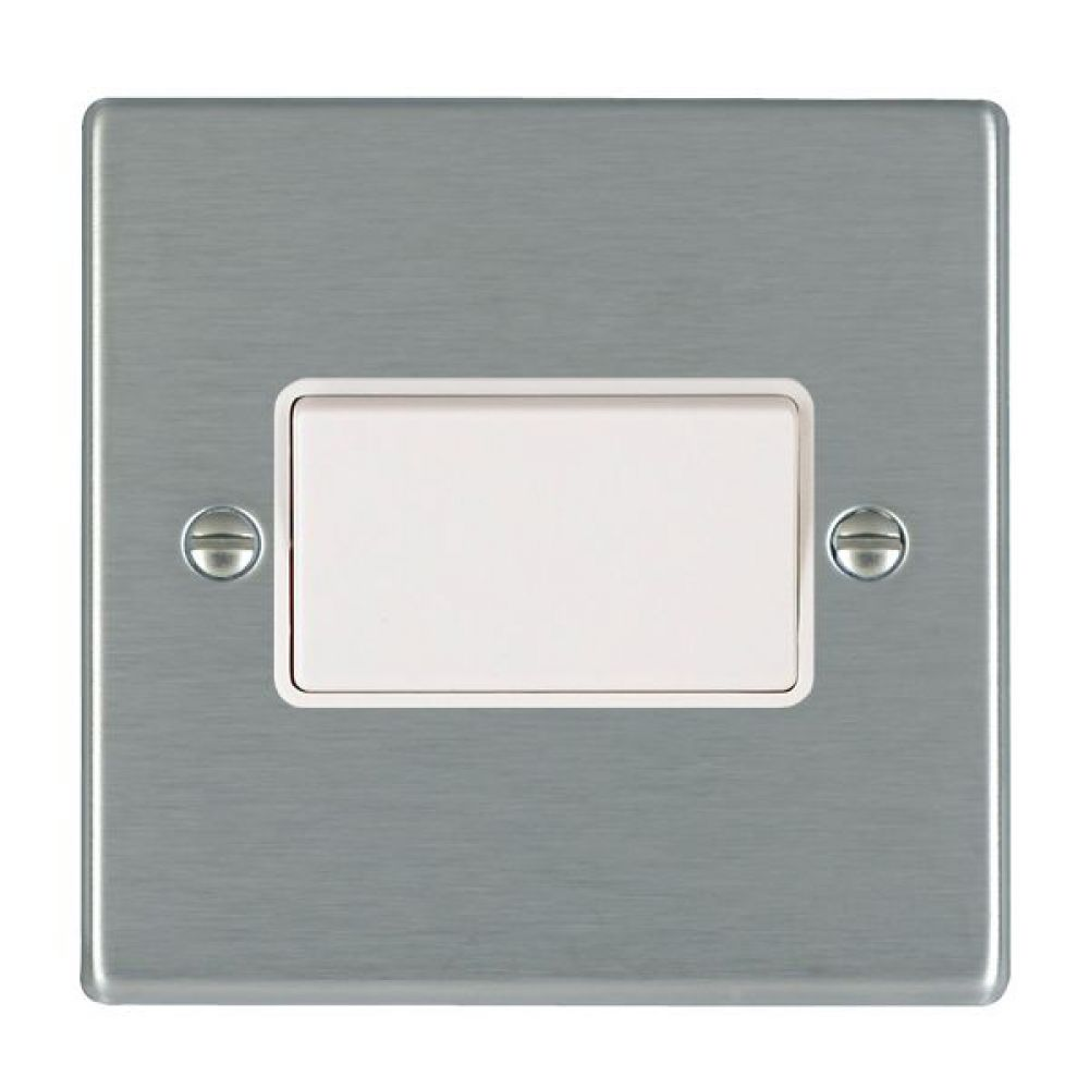 Hamilton Hartland Satin Stainless 1 Gang 10A Triple Pole Rocker Switch with White Plastic Inserts + White Surround