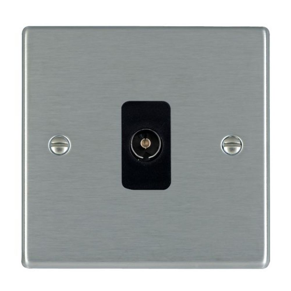 Hamilton Hartland Satin Stainless 1 Gang Non Isolated TV 1 In/1 Out Socket with Black Inserts