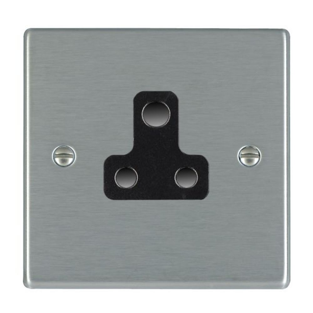 Hamilton Hartland Satin Stainless 1 Gang 5A Unswitched Socket with Black Plastic Inserts and Black Surrounds