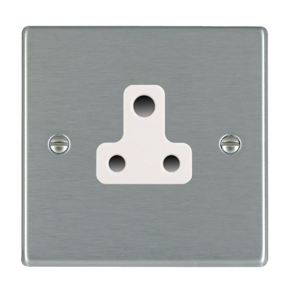 Hamilton Hartland Satin Stainless 1 Gang 5A Unswitched Socket with White Plastic Inserts and White Surrounds