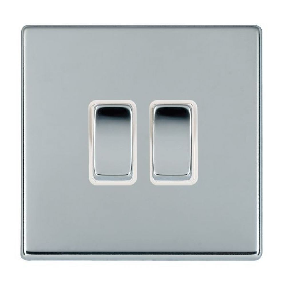 Hamilton Hartland CFX Bright Chrome 2 Gang 10AX 2W Rocker Switch with Bright Chrome Inserts and White Surrounds