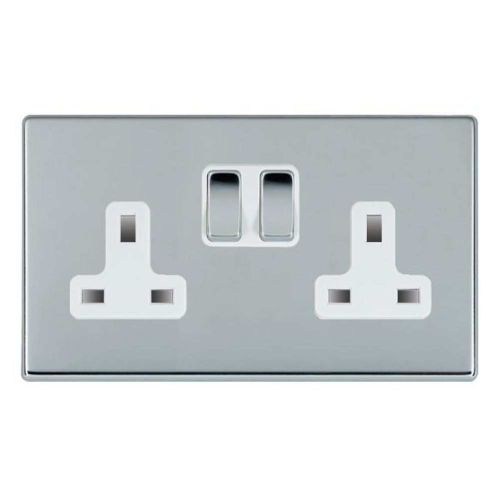 Hamilton Hartland CFX Bright Chrome 2 Gang 13A Double Pole Switched Socket with Bright Chrome Inserts + White Surround