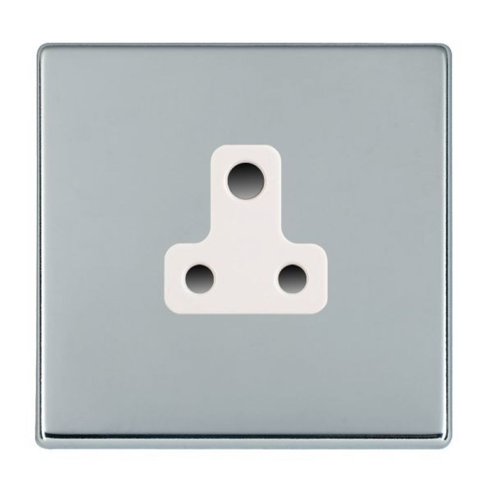 Hamilton Hartland CFX Bright Chrome 1 Gang 5A Unswitched Socket with White Plastic Inserts and White Surrounds
