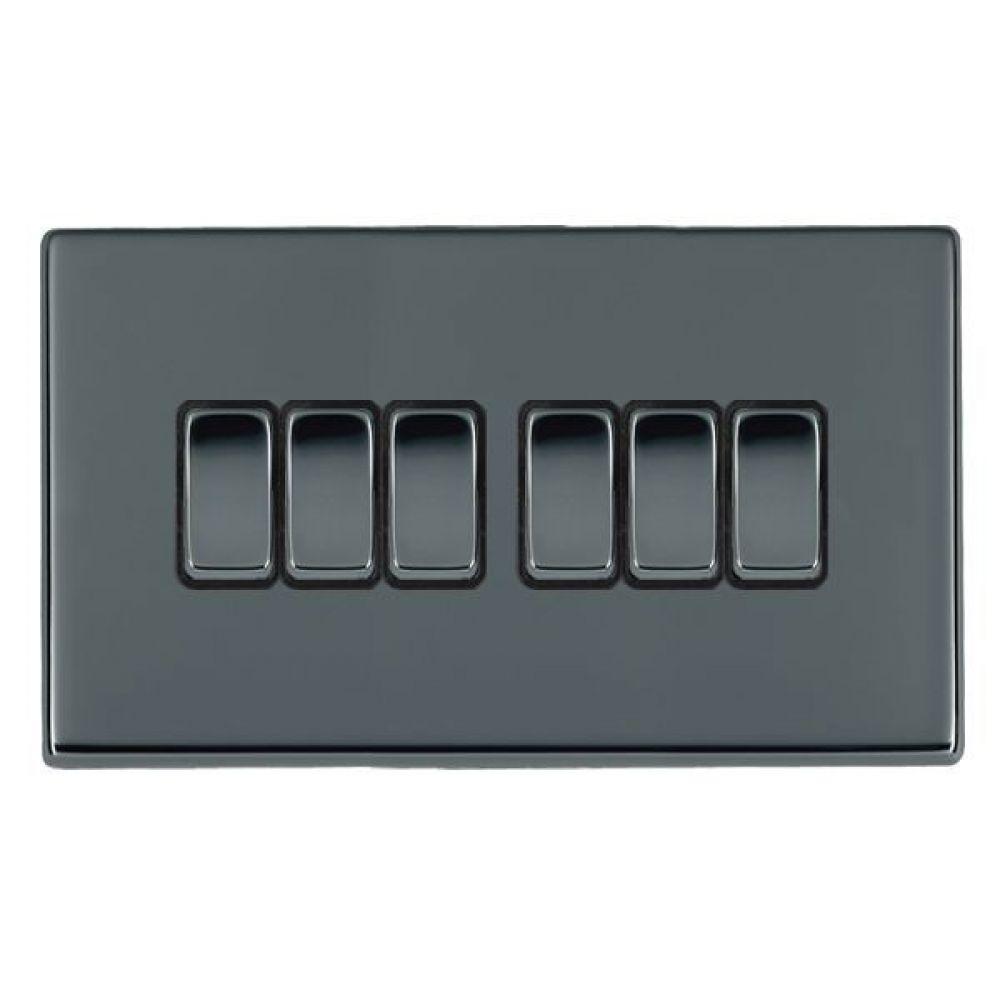 Hamilton Hartland CFX Black Nickel 6 Gang 10AX 2W Rocker Switch with Black Nickel Inserts and Black Surrounds