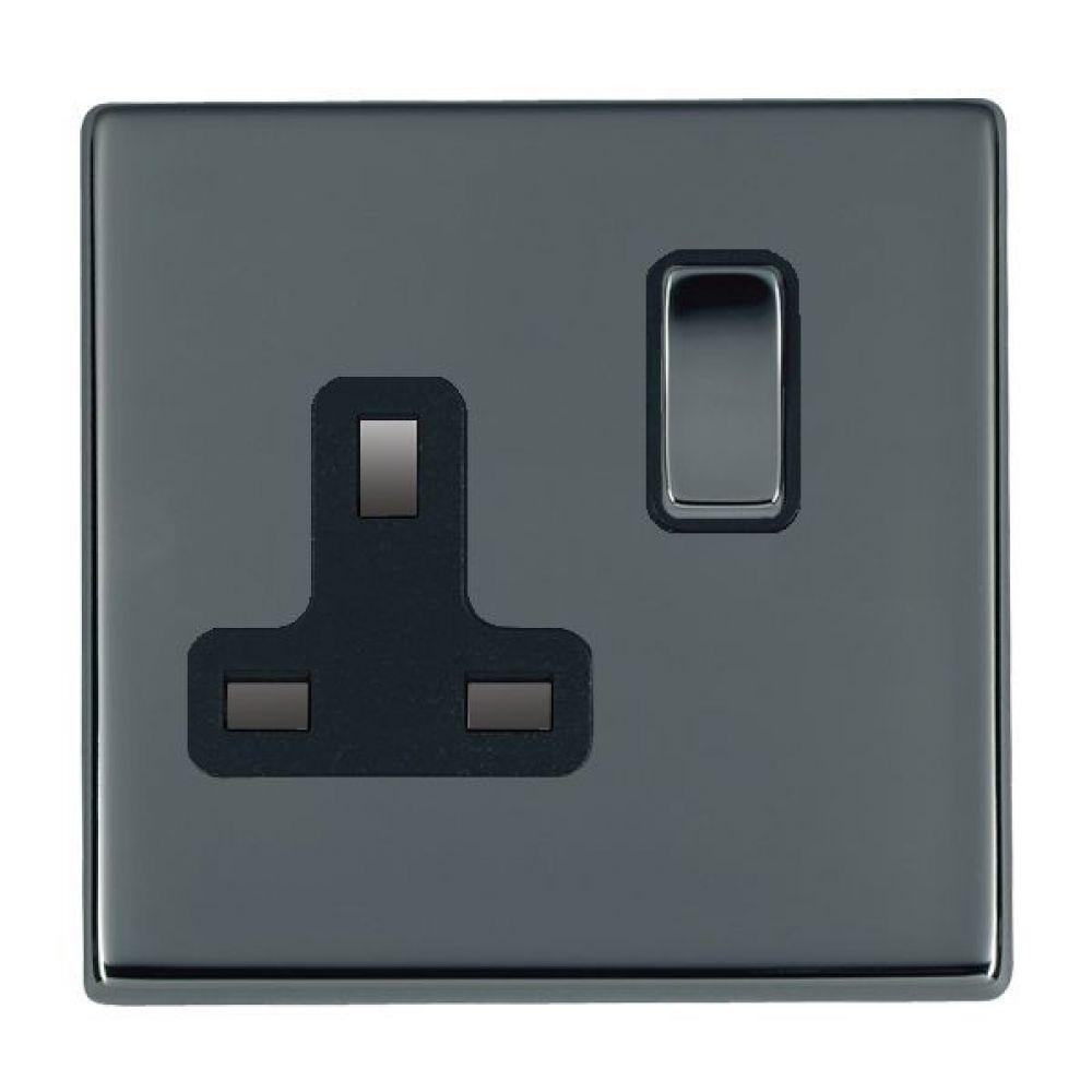 Hamilton Hartland CFX Black Nickel 1G 13A Double Pole Switched Socket with Black Nickel Inserts + Black Surround