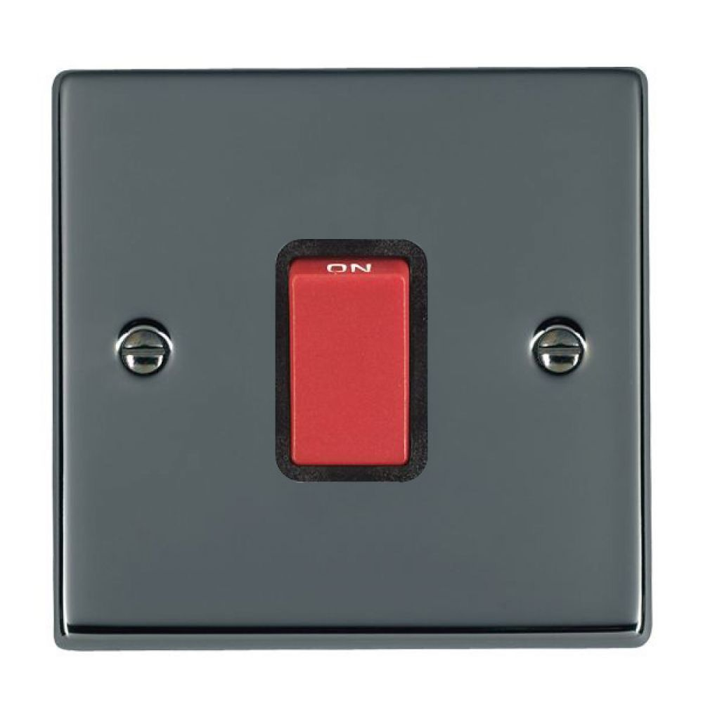Hamilton Hartland Black Nickel 1 Gang 45A Double Pole Red Rocker Switch with Black Surrounds