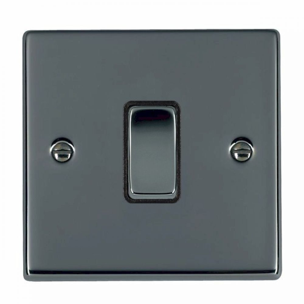 Hamilton Hartland Black Nickel 1 Gang 10AX 2W Rocker Switch with Black Nickel Inserts and Black Surround
