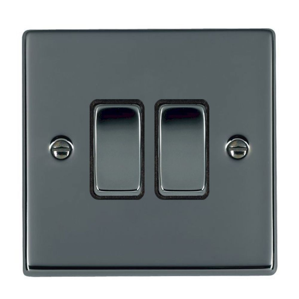 Hamilton Hartland Black Nickel 2 Gang 10AX 2W Rocker Switch with Black Nickel Inserts and Black Surrounds