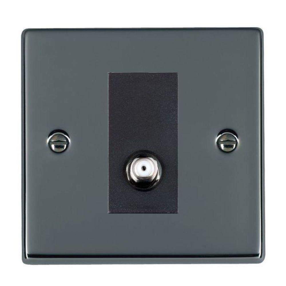 Hamilton Hartland Black Nickel 1 Gang Non Isolated Satellite Socket with Black Inserts