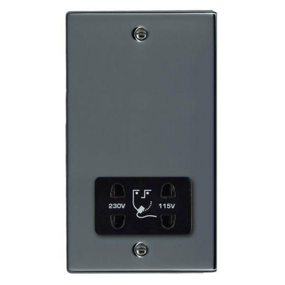 Hamilton Hartland Black Nickel Shaver Dual Voltage Unswitched Socket with Black Plastic Inserts + Black Surround