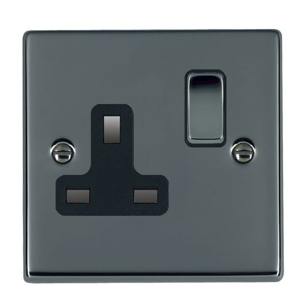 Hamilton Hartland Black Nickel 1G 13A Double Pole Switched Socket with Black Nickel Inserts + Black Surround