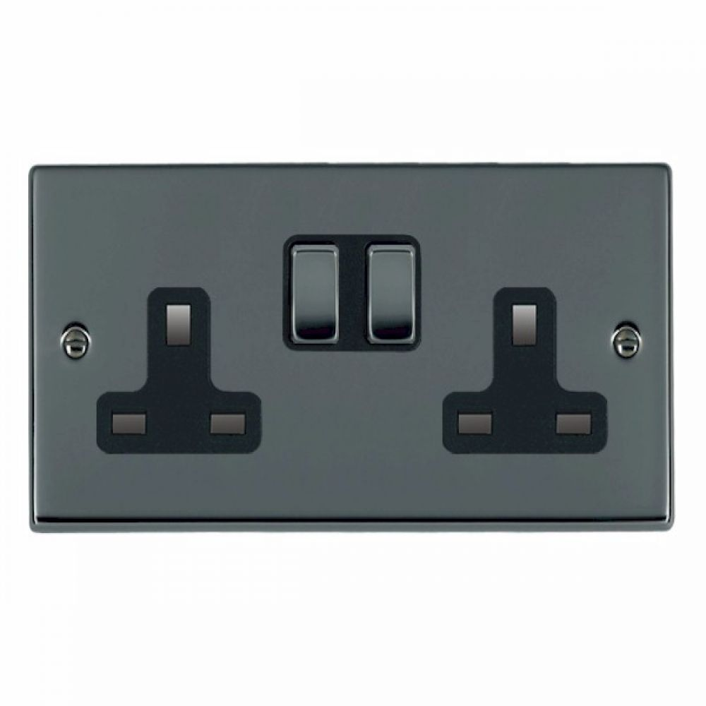 Hamilton Hartland Black Nickel 2G 13A DP Switched Socket with Black Nickel Inserts and Black Surround