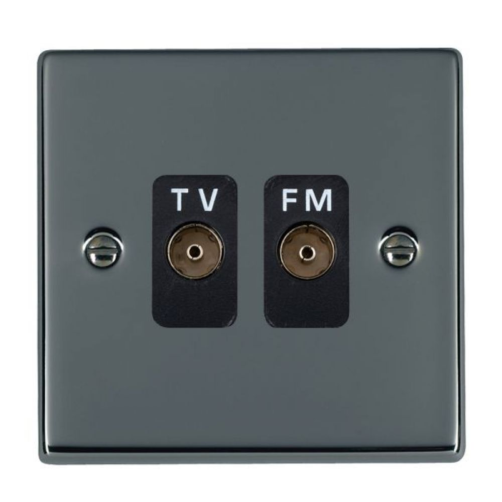 Hamilton Hartland Black Nickel Isolated TV/FM Diplexer 1 In/2 Out with Black Inserts