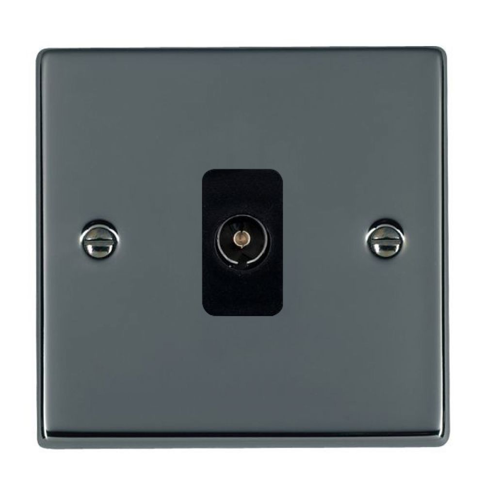 Hamilton Hartland Black Nickel 1 Gang Non Isolated TV 1 In/1 Out Socket with Black Inserts