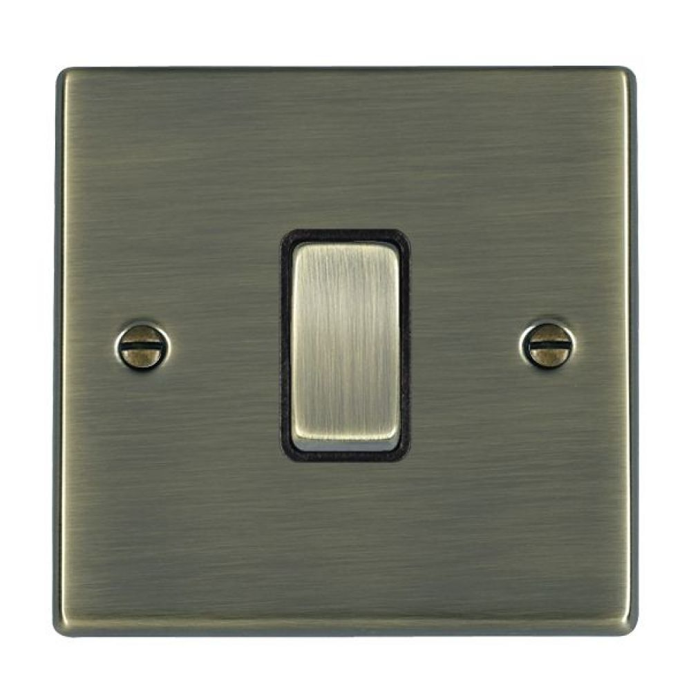 Hamilton Hartland Antique Brass 1 Gang 10AX 2W Rocker Switch with Antique Brass Inserts and Black Surrounds