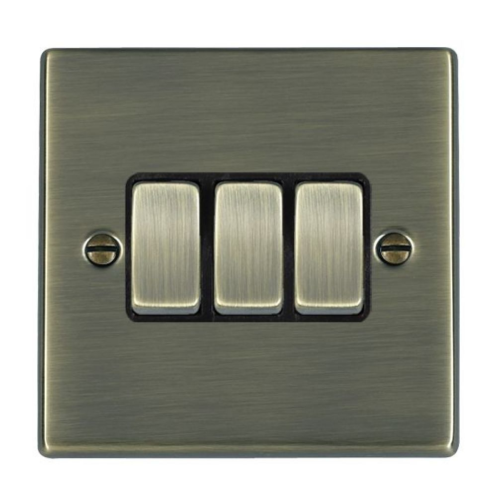 Hamilton Hartland Antique Brass 3 Gang 10AX 2W Rocker Switch with Antique Brass Inserts and Black Surrounds