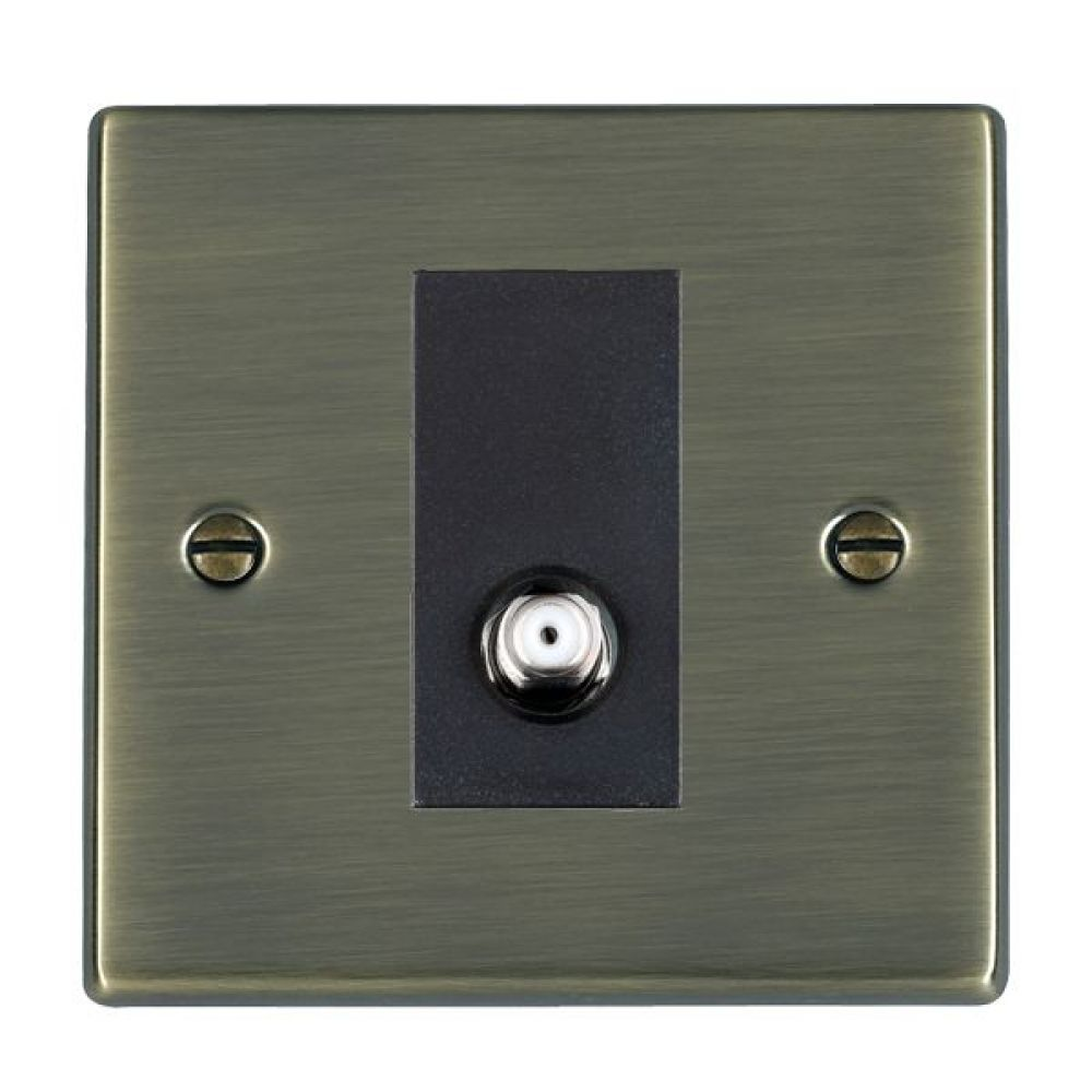 Hamilton Hartland Antique Brass 1 Gang Non Isolated Satellite Socket with Black Inserts