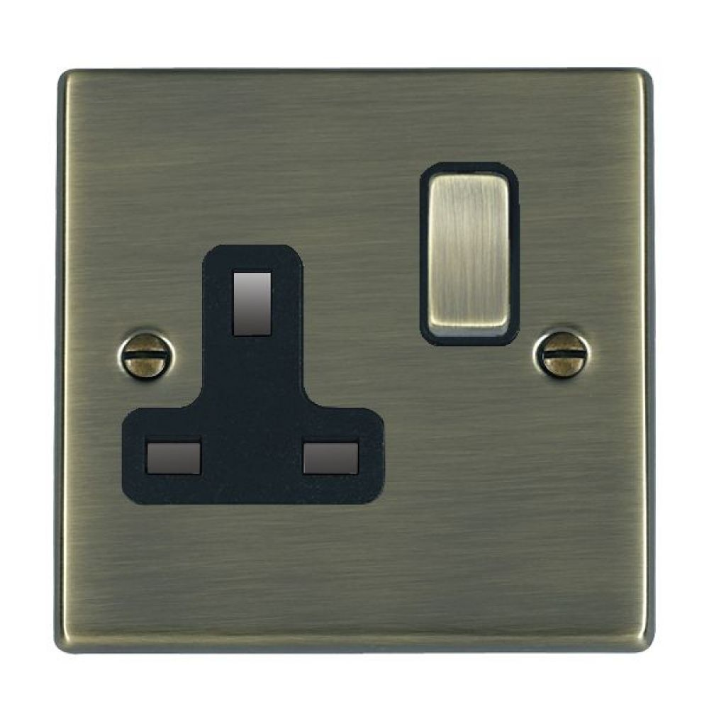 Hamilton Hartland Antique Brass 1G 13A Double Pole Switched Socket with Antique Brass Inserts and Black Surround