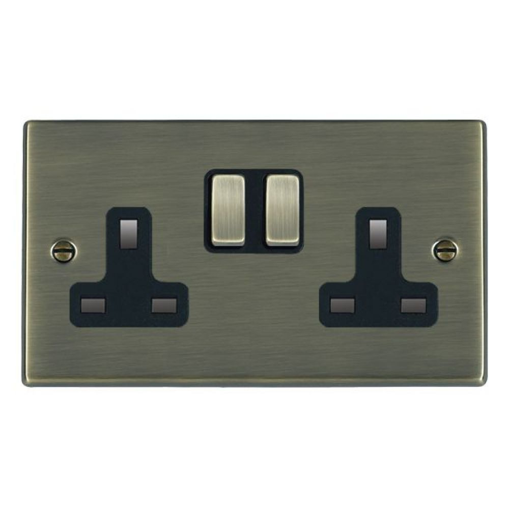 Hamilton Hartland Antique Brass 2G 13A DP Switched Socket with Antique Brass Inserts and Black Surround