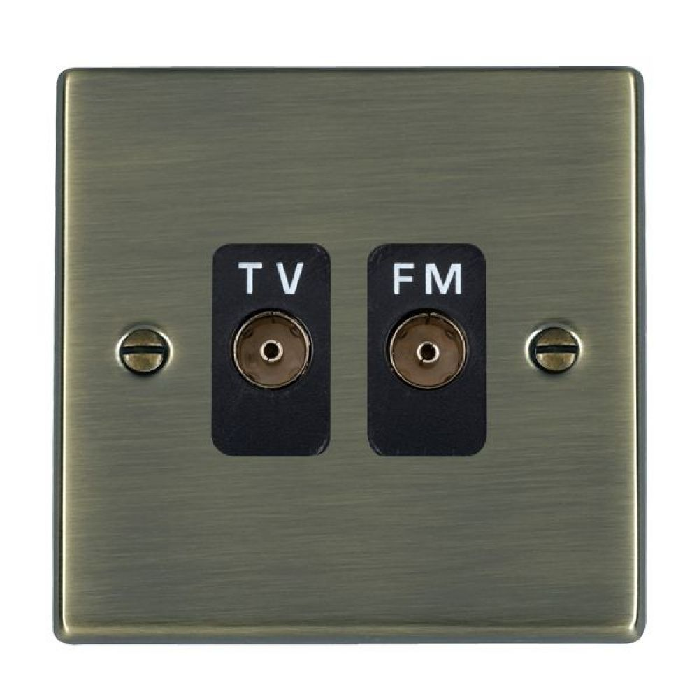 Hamilton Hartland Antique Brass Isolated TV/FM Diplexer 1 In/2 Out with Black Inserts