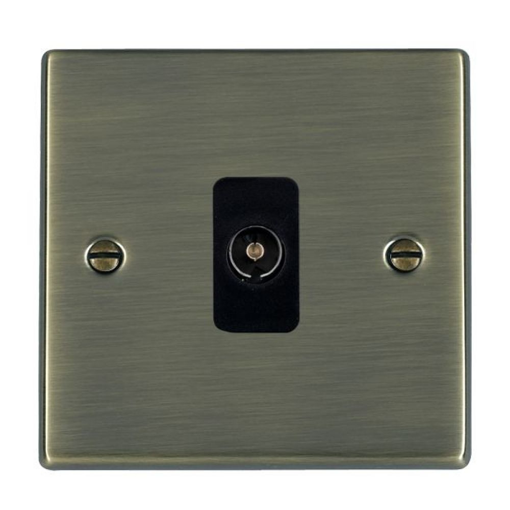 Hamilton Hartland Antique Brass 1 Gang Non Isolated TV 1 In/1 Out Socket with Black Inserts