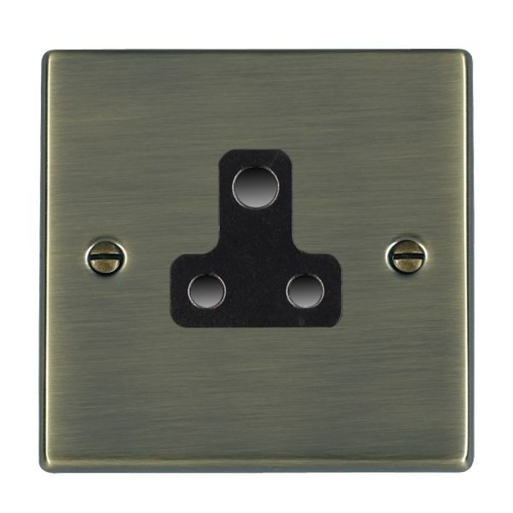 Hamilton Hartland Antique Brass 1 Gang 5A Unswitched Socket with Black Plastic Inserts and Black Surrounds