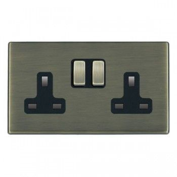 Hamilton Hartland CFX Antique Brass 2 Gang 13A Switched Socket - Double Pole with Antique Brass Insert and Black Surround