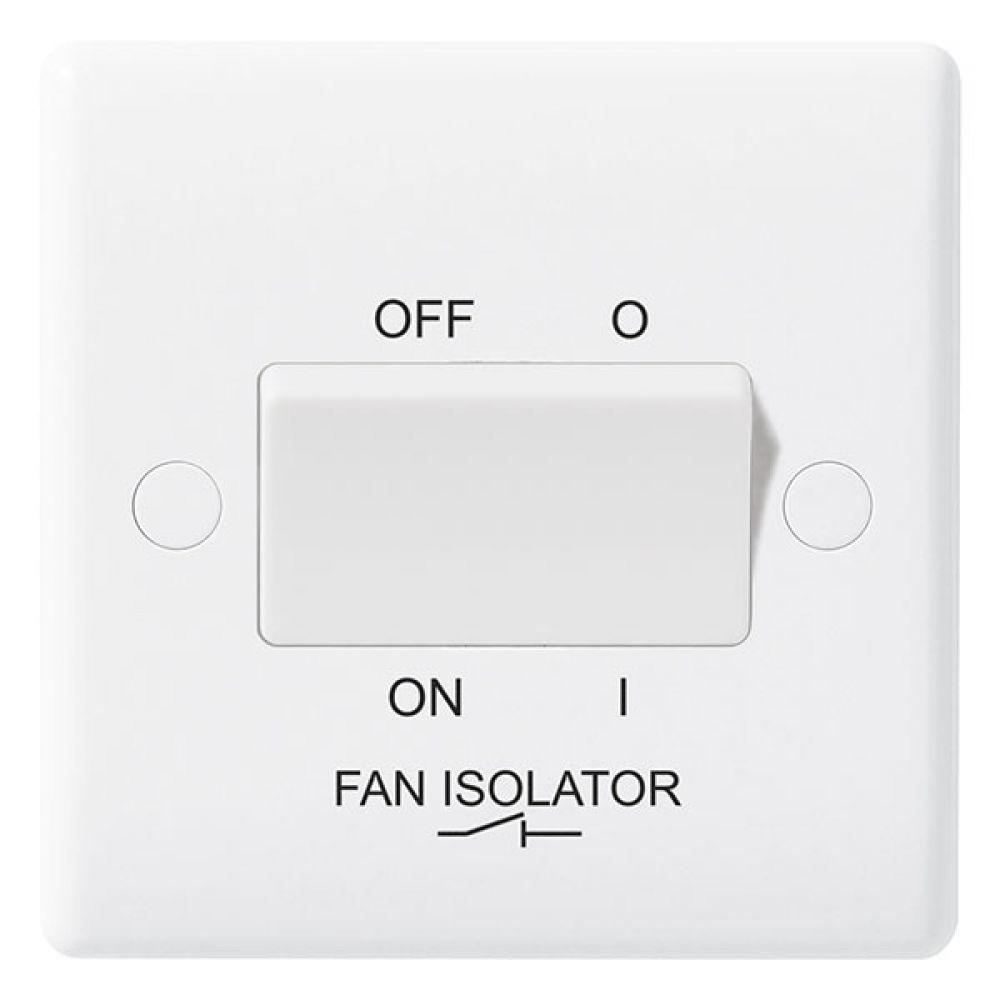 BG White Round Edge Triple Pole Fan Isolator Switch