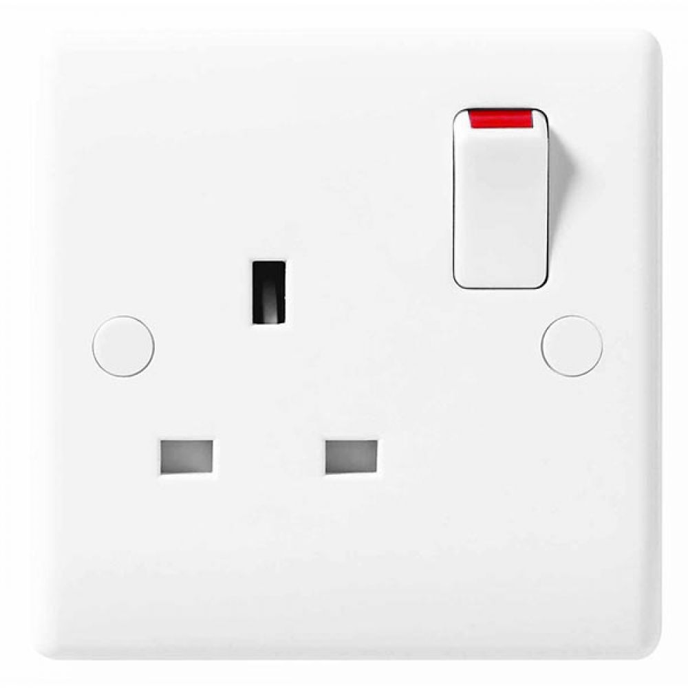 BG White Round Edge 1 Gang SP 13A Switched Socket