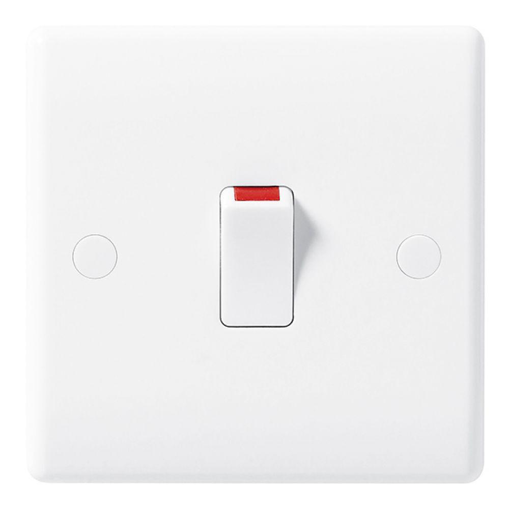 BG White Round Edge 20 Amp Double Pole Switch