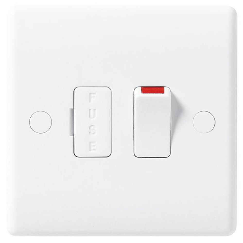 BG White Round Edge 13 Amp Switched & Fused Connection Unit